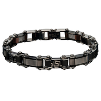 Inox Jewelry Men's Stainless Steel Black IP,  Cappuccino IP Reversible Bracelet