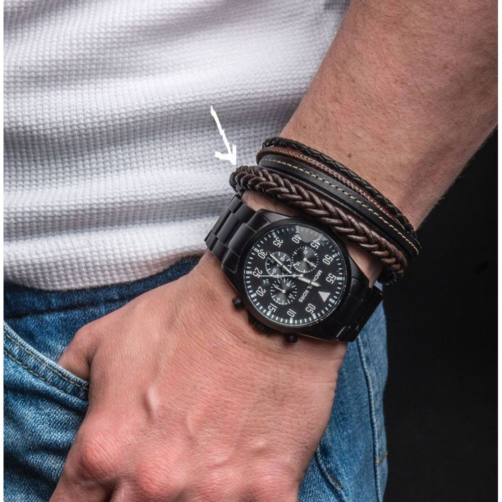 Inox Men's Brown Leather and Stainless Steel Magnetic Clasp Braided Bracelet