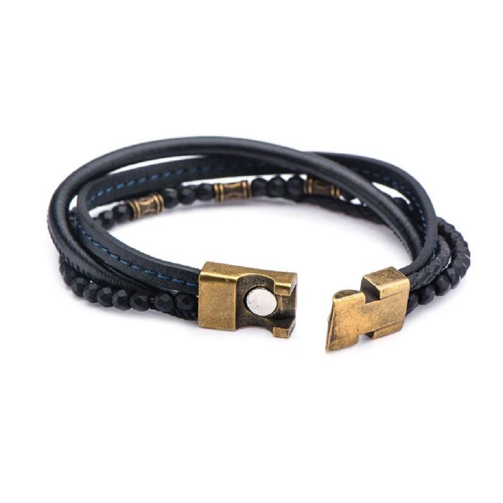 Inox Men's Multi Layered Black Leather and Black Hematite Beaded Bracelet