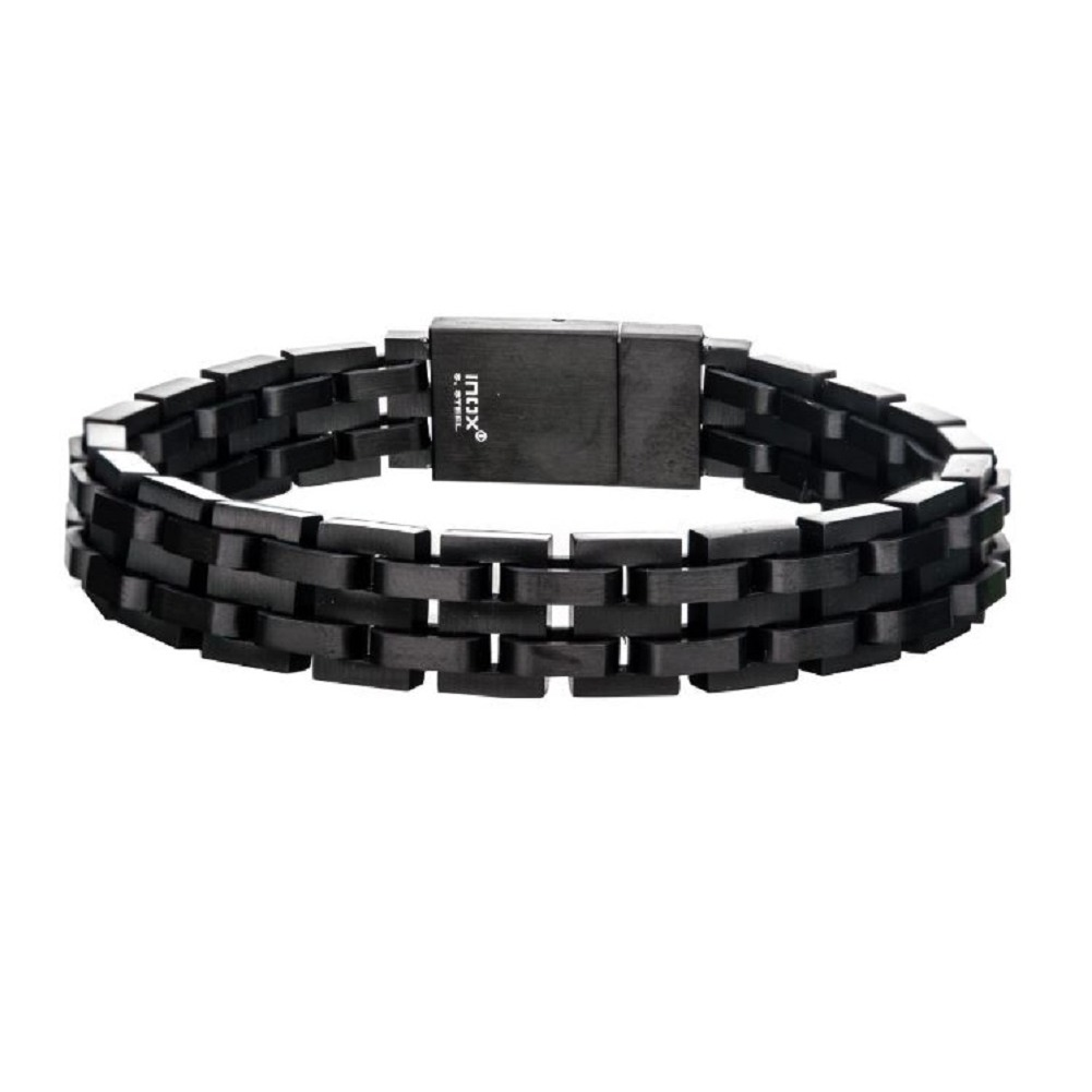 Inox Men's Black Ip and Stainless Steel  Bracelet