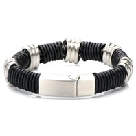 Inox Men'S Stainless Steel And Black Leather Bracelet