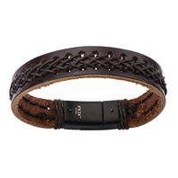 Inox Men'S Stainless Steel Brown Bracelet Stitching And Steel Clasp  #Brlt21