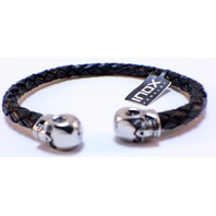 Inox Men'S leather Dark Brown Bracelet  and Stainless Steel Skulls on the Tips