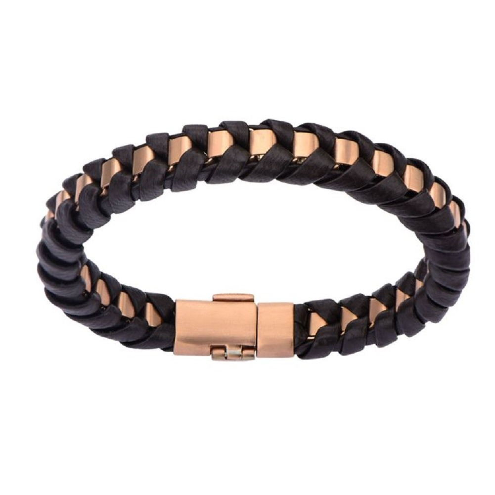 Inox Men's Rose Gold Ip Matte Finished with Brown Leather Thread Bracelet