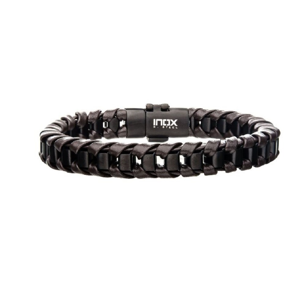 Inox Men's Black IP Matte Finished with Brown Leather Thread Bracelet