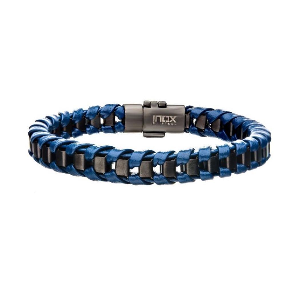 Inox Men's Gun Metal Grey IP with Blue Leather Thread Bracelet