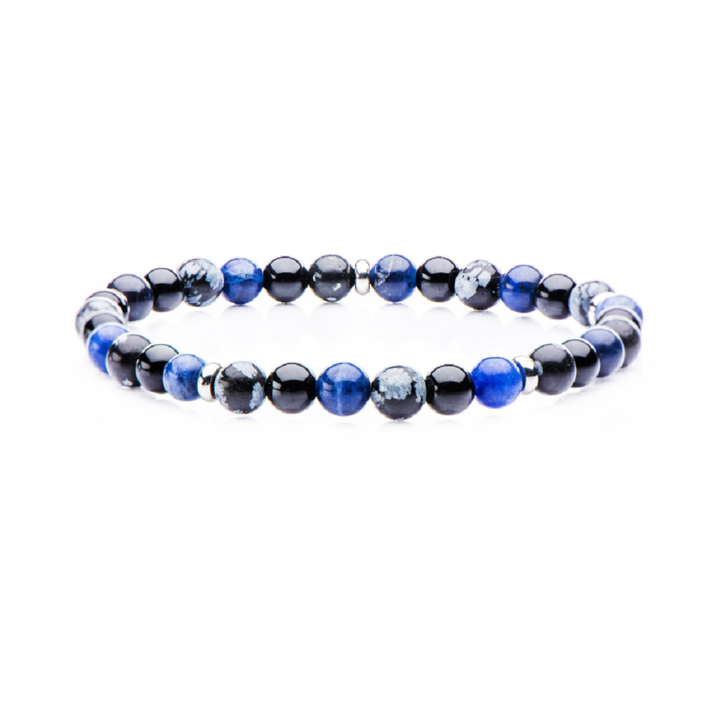 Inox Men's Multi Leather and Blue Onyx Beaded Stackable Bracelets