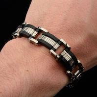 Inox Men'S Titanium Link Bracelet With Ip Black Edges Edgy Contemporary #Brt116