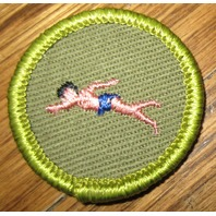 Boy Scouts Swimming Patch Merit Badge Type F Gauze Cloth Back