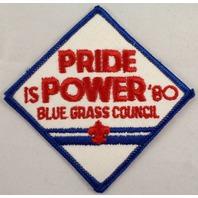 Uniform Patch Boy Scout Bsa Pride Is Power 1980 Blue Grass Council #Bsbl