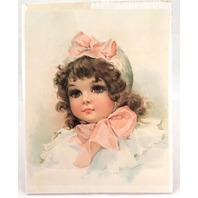 "Victorian Lithograph Print Picture ""Buttons And Bows Little Girl""  8"" X 10"""