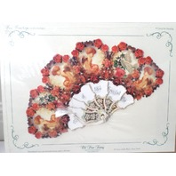 Vintage Inspired Valentine Paper Fan Greeting Card You'Re One Of Life'S Gifts