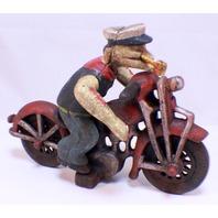 Popeye Cast Iron Motorcycle Rider On A Bike Riding Harley Davidson Patrol Cycle