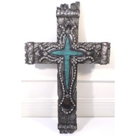 Montana West Western Inspirational Cross w/Turquoise and Rhinestones Accents