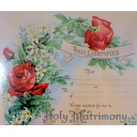Turn Of The Century Wedding Certificate Marriage Old Print Factory Red Rose