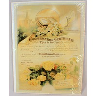 Old Print Factory Confirmation Certificate Scrapbooking Framing #Crt008