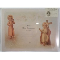 Old Print Factory First Holy Communion Record Scrapbook Print Framing #Crt009