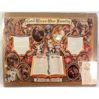 Old Print Factory God Bless Our  Family Record Certificate Print #Crt011