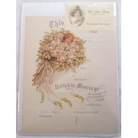 Turn Of The Century Wedding Certificate Marriage Old Print Factory Crt016