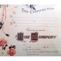 Turn Of The Century Wedding Certificate Marriage Old Print Factory #Crt017