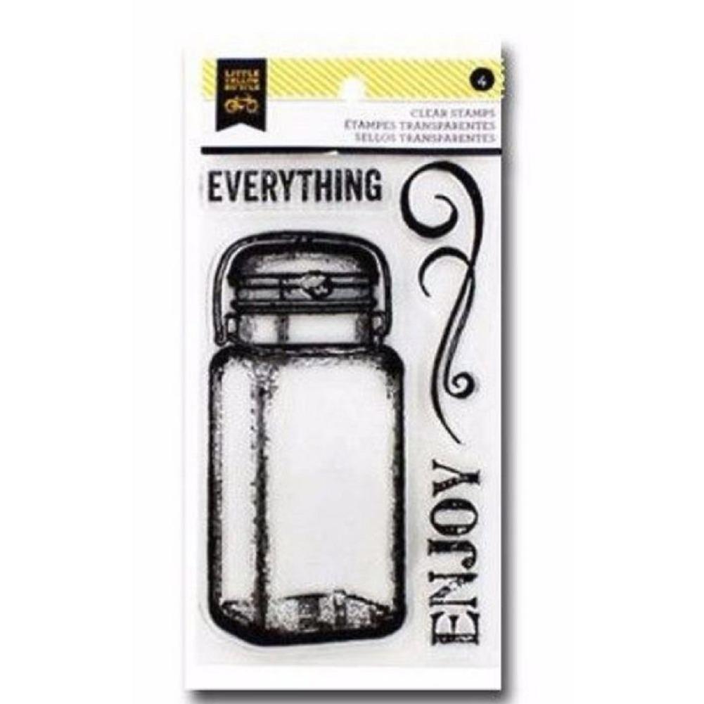 Little Yellow Bicycle Rubber Stamp Set Kit Enjoy Everything Canning Jar Baking