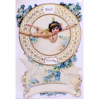 Victorian Card Lithograph Die Cut Embossed Cupid Mechanical Calendar