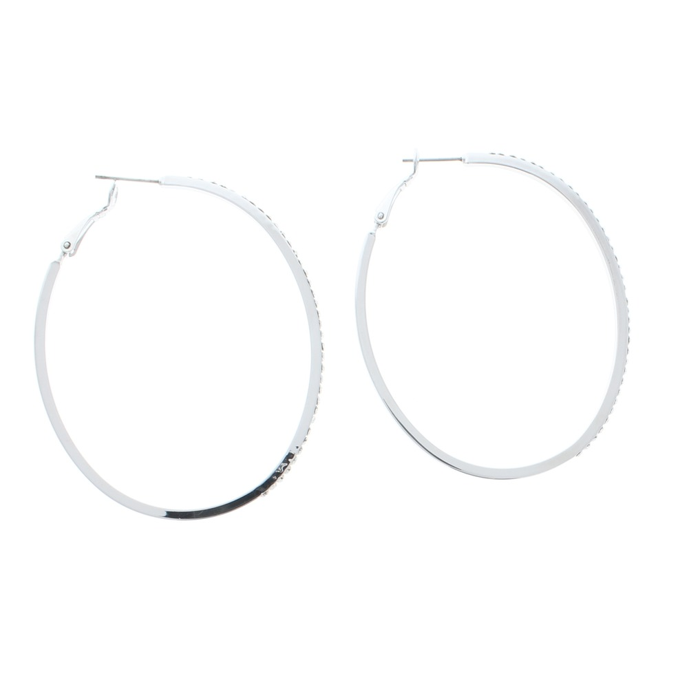 Stunning Large Oval Hoops Silver Tone Austrialian Crystals