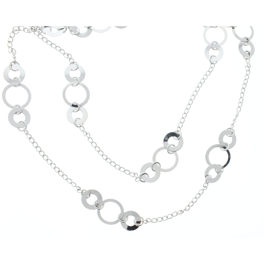 Women's Contemporary Silver Toned Long Necklace 48""