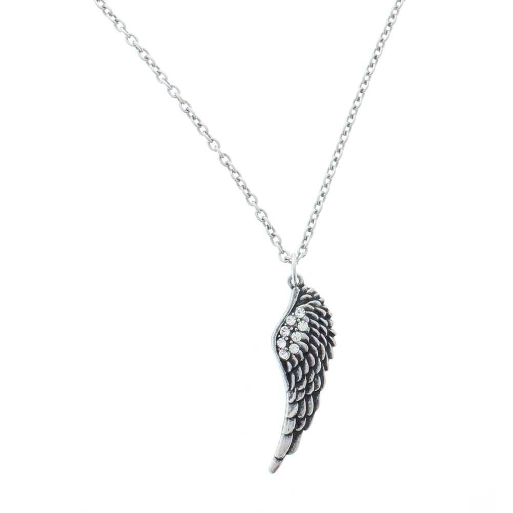 Women's Angel Wing Charm Necklace Silver Tone Australian Crystals