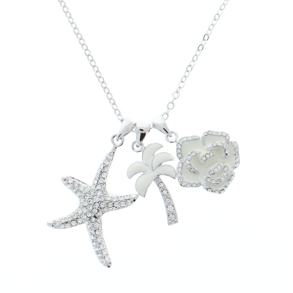 Women's Long Dangle Drop Necklace Silver Tone Charms Palm Tree Rose Starfish