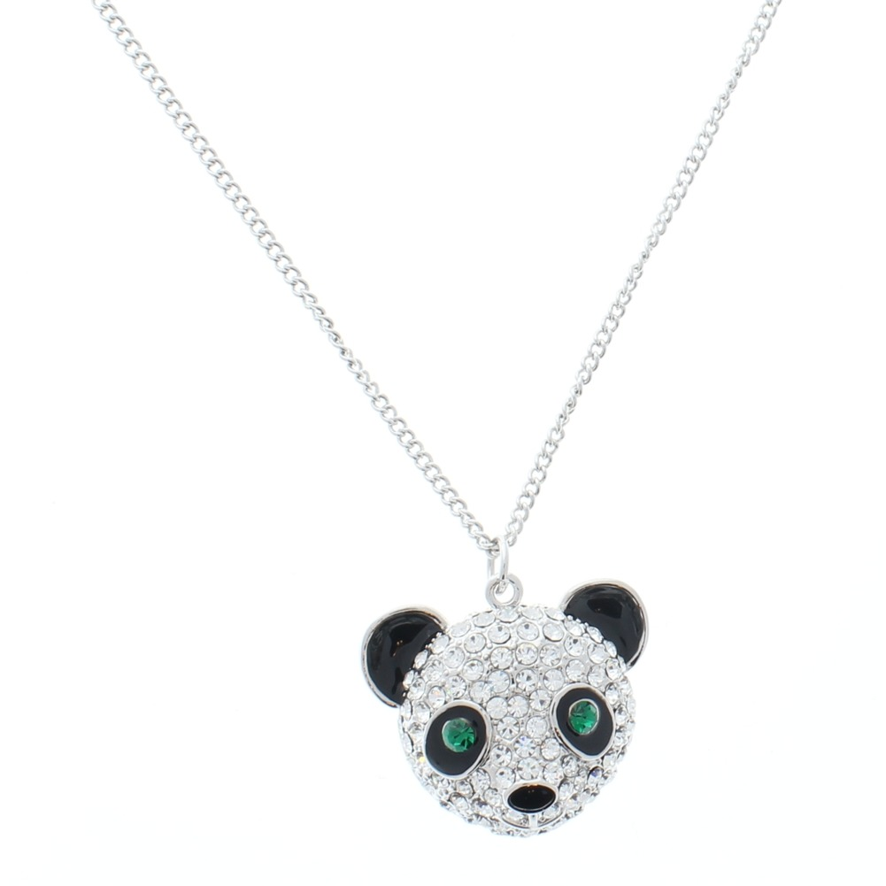 Women's Teddy Bear Charm Necklace Silver Tone Austrialian Crystals