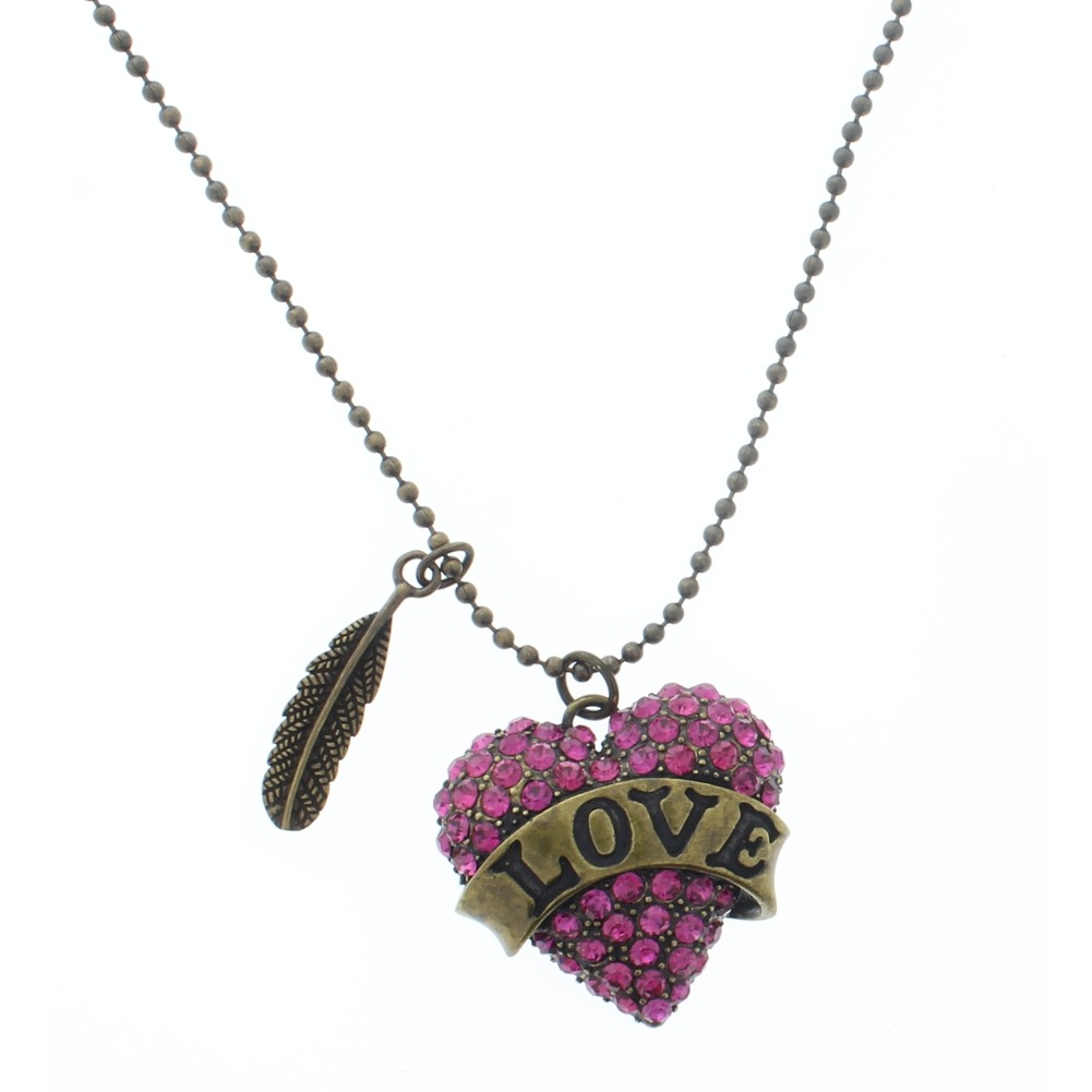 Women's Love Heart Feather Charm Necklace Brass Tone Australian Crystals
