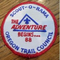 Bsa Boy Scout Uniform Patch Bsa 1988 The Adventure Begins Oregon Trail Council