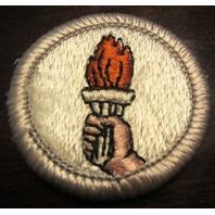 Boy Scouts Sports Patch Merit Badge Type H Plastic Back