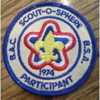 Bsa Boy Scout Uniform Patch Bsa B.A.C. Participant 1974 Scout-O-Sphere