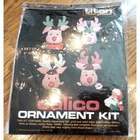 "Titan Needlecraft Calico Reindeer Ornament Kit Set Of 4 /4"" High"