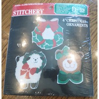 "Stitchery 4"" Christmas Ornament Lamb/Wreath/Bear #1404 Crewel Wool Yarn"