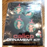 "Titan Needlecraft Calico Teddybear Ornament Kit Set Of 4 /4"" High"