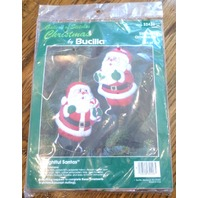 Bucilla Stitchery Ornament Set of 2 Delightfly Santa Claus #32426