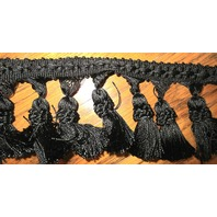 "3.25"" Jet Black Tassel Trim Approx 10 Yards  Wonderful"