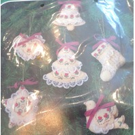 Bucilla Stitchery Ornament Set of 6 :acu Delights Star Heart Dove Tree Bell New
