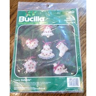 Bucilla Stitchery Ornament Set of 6 :acu Delights Star Heart Dove Tree Bell New