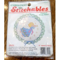 "Stitchables Counted Cross Stitch Angel 4"" Round #8310-1"