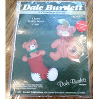 "Dale Burdett I Love Teddy Bears 4"" High 1985 Fk404 Christmas Felt Kit"