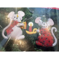 """Traditions Felt Ornaments Mice With Candle And Cheese 4.5"""" X 3.5 T8003"""