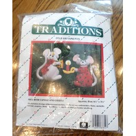 "Traditions Felt Ornaments Mice With Candle And Cheese 4.5"" X 3.5 T8003"