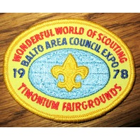 Bsa Boy Scout Uniform Patch Wonderful World Of Scouting Balto Area Expo 1978