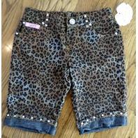 New Lipstik Cheetah Animal Print Set Sz 8 Crystal Nwt Shorts Bling Top