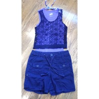 Girls Justice New Lace Lavender Top Sz 8 / Sz 10R Navy Cotton Shorts