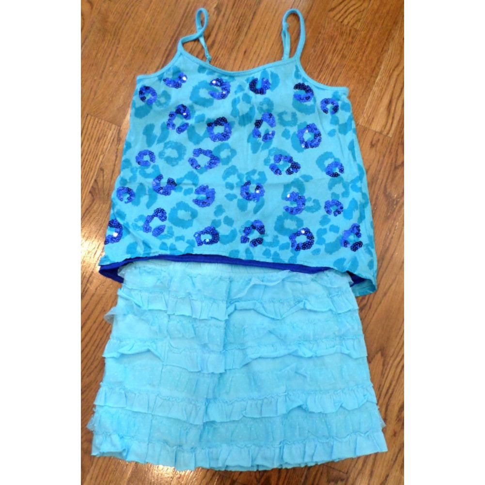 Girls Justice Sequin Cami New Skirt Shimmer Shrug Lot 10 12 Aqua